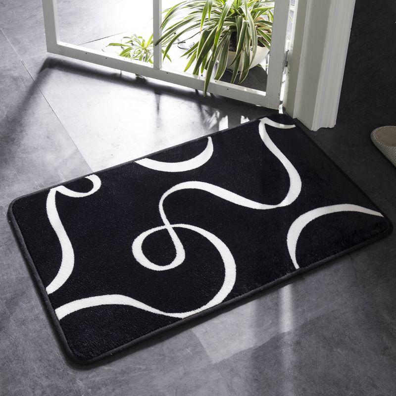 1PC Badmatte Schwarzweiss Klassisches geometrisches Muster Super Soft Absorbent Badezimmer Fußmatte Anti-Rutsch-Bad-Wolldecke-Teppich