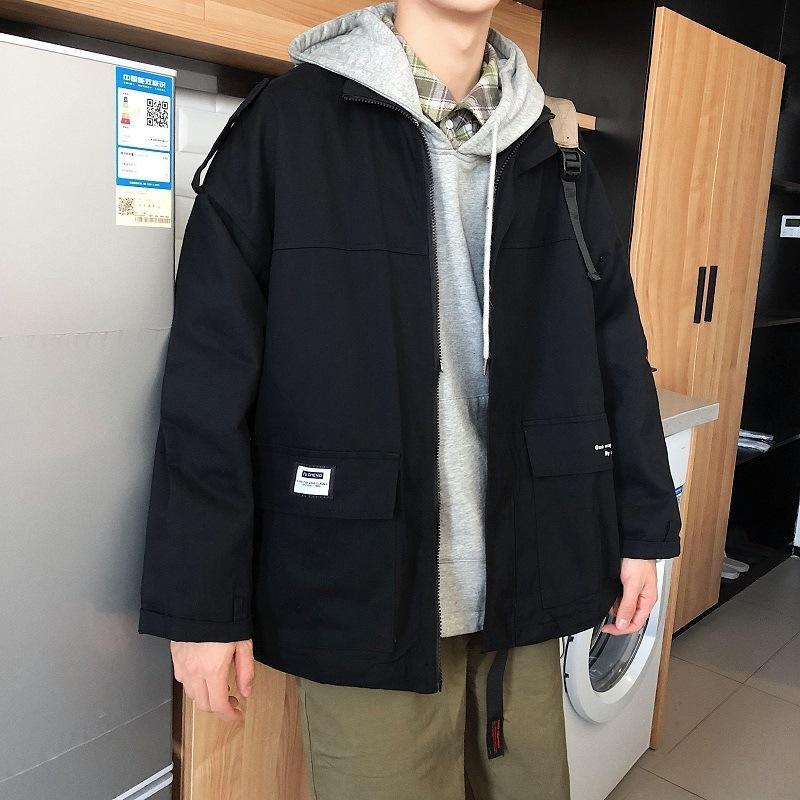 1EKjl 9BX4G Herbst verliert neue Farbe Werkzeug koreanische Stil trendige Freizeitjacke Männer feste Jacke Jugend-Spiel