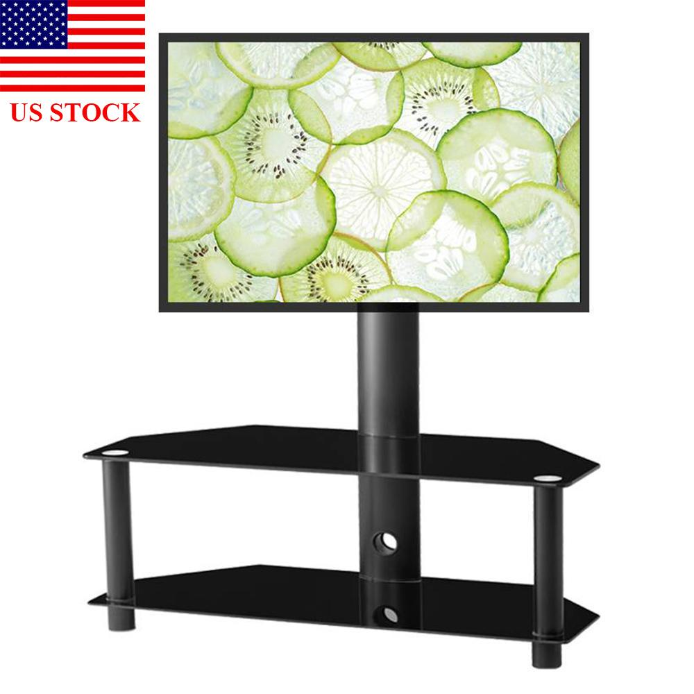 LCD TV Mount Bracket Floor TV St Multi-Function Adjustable Glass Metal Frame Black C0028 US STOCK
