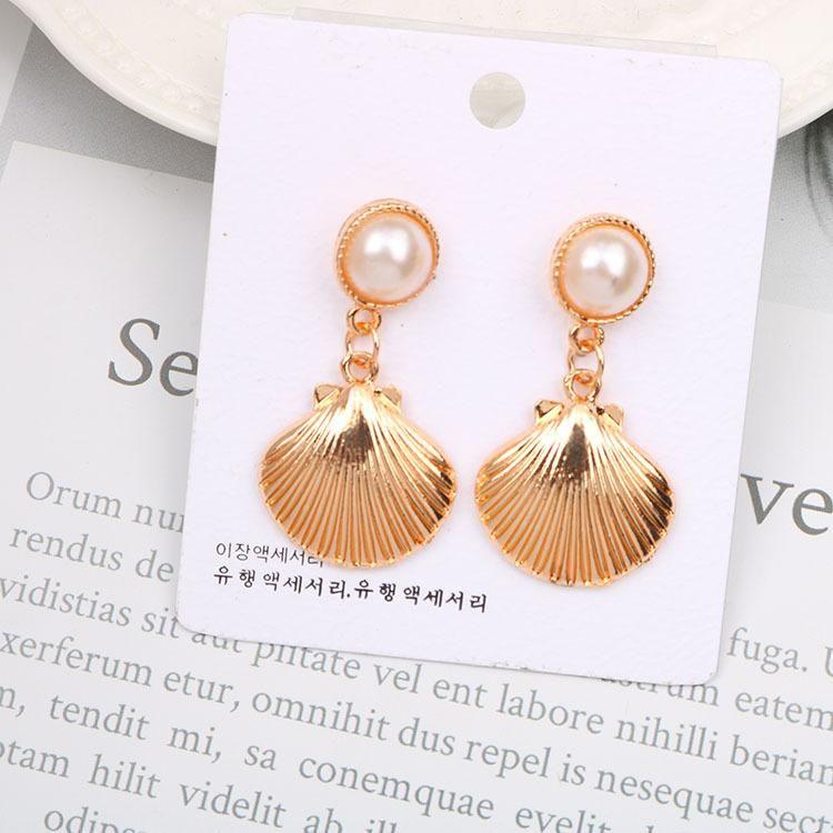 2020 designer brincos novos brincos exagerados brincos de pérola shell tiro celebridade moda de rua do vento do oceano femininos