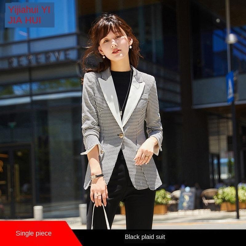 0yn6Z Plaid pour les femmes 2020 nouvelle internet printemps et en automne petit rouge style coréen plaid décontracté costume féminin de style britannique lâche petit costume