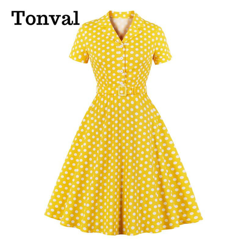 Tonval col cranté à pois Pin Up Vintage 50 Robe robes ligne pour femmes Bouton avant coton élégant Robe mi-longue