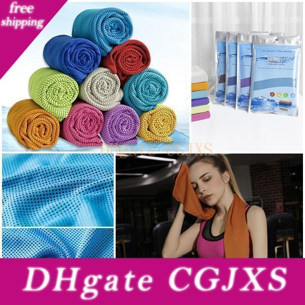 6 Colors Sports Towel Cooling Towel Microfiber Fabric Quick Dry Ice Cool Towel Gym Sweat Cooling Scarf 100x30cm Dhl Free
