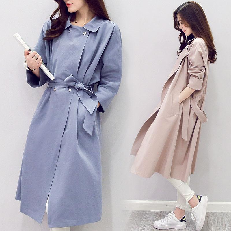 2020 printemps et en automne nouveau style coréen court minceur mode taille étroite autocollant corps coupe-vent à mi-longueur windbre manteau femmes manteau