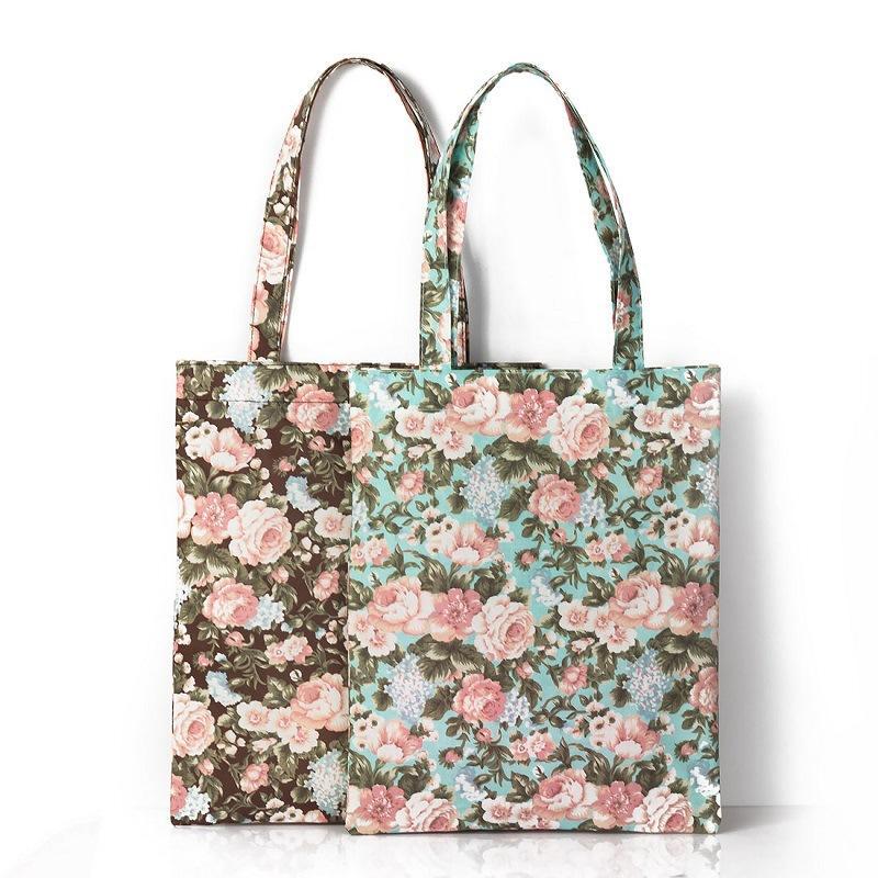Reusable Shopping Bag Women Flower Print Handbag Foldable Beach Bag Casual Canvas Daily Use Shoulder Bags