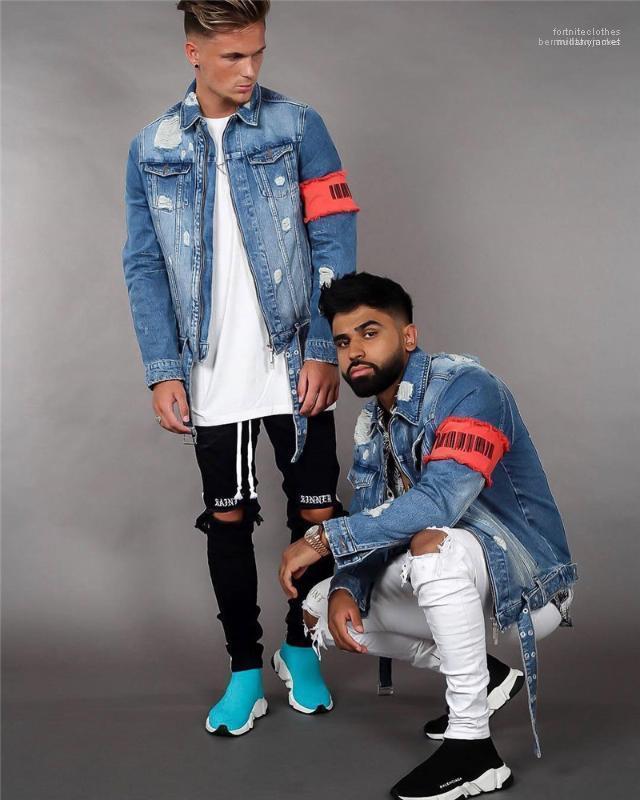 Mosca Jean chaquetas para hombre de la moda del casaul Streetwear Adolescente diseñador diseñador Jean chaquetas de invierno rasgado apenado de la cremallera