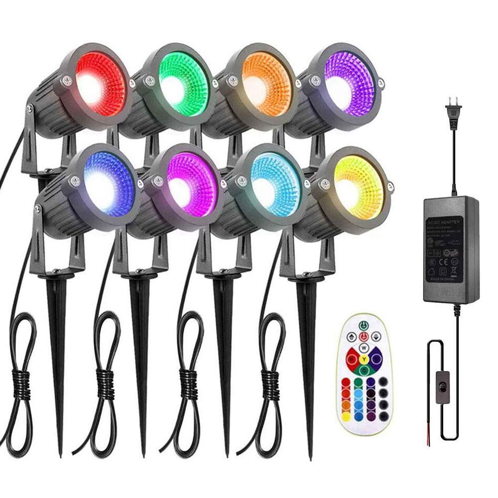 Paisaje luces 6W RGB LED de control remoto paisaje Iluminación, 12V a prueba de agua 16 que cambia de color Camino del jardín luces decorativas, 8 Paquete
