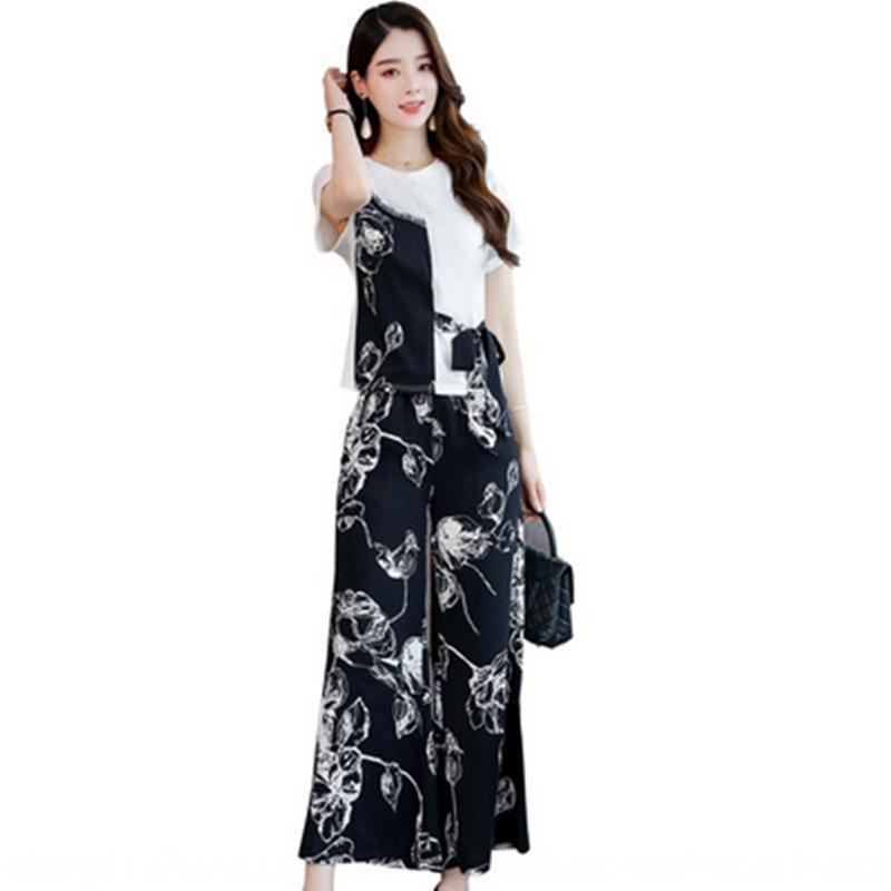 pantaloni larghi del piedino delle donne adatti 2020 nuova estate slacciano grande pantaloni a gamba larga due pezzi adatta il vestito casuale dimagrante stile coreano