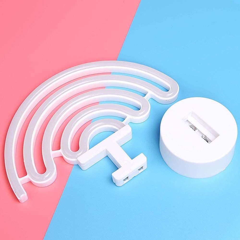 Regenbogen-Neonzeichen LED-Licht mit Halter-Unter USB / batteriebetriebenes Tischnachttischlampe für Schlafzimmer Haus Partydekoration Geschenke
