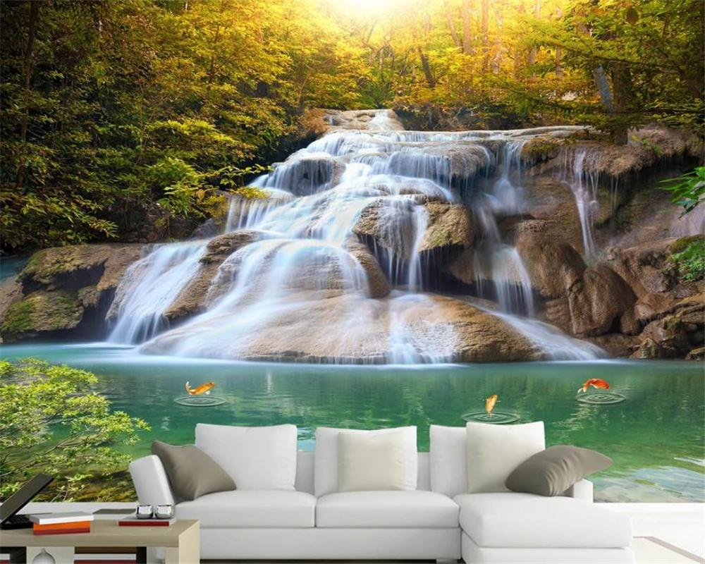 3d Modern Wallpaper Mountain Stream Waterfall Mountain Spring Flowing Water Makes Money Landscape Romantic Scenery Decorative Wallpaper