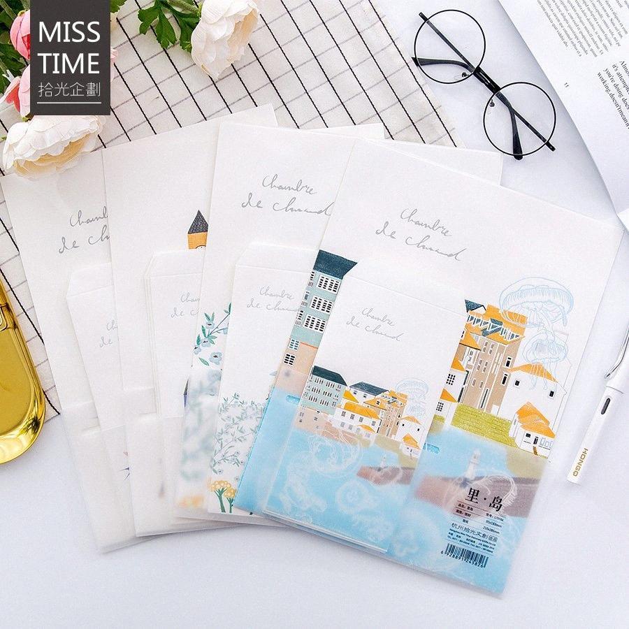 9pcs / Set 3 envelopes + 6 papel escrita dentro da série ilha para Envelope presente Papelaria Coreano HrcZ #
