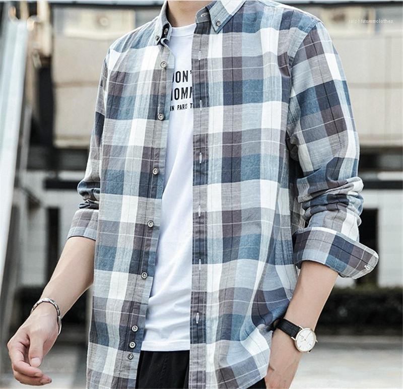 Camisa para hombre del diseñador de ropa de manga larga gira el collar abajo camisas para hombre Mixta casual a cuadros color Impreso