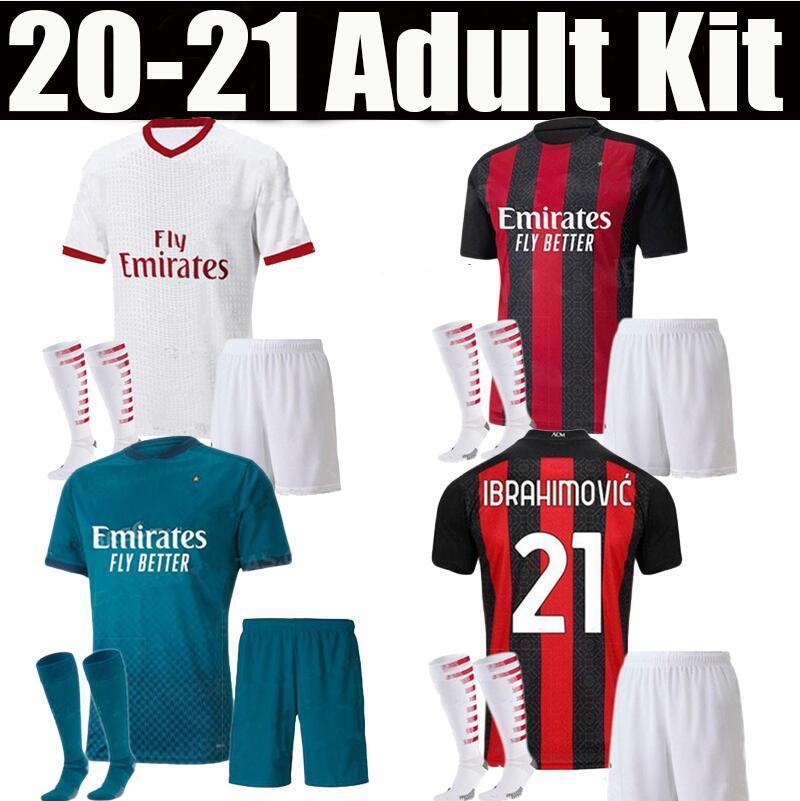 Adulto Kit AC 2020 2021 Milão Ibrahimovic Futebol Jerseys 19 20 21 Piatek Paqueta Theo Rebic Futebol Camisas Homens Kit Uniformes