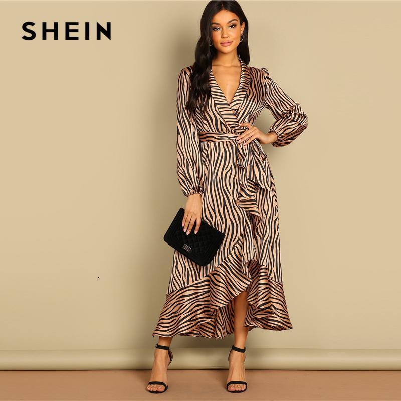 Shein profunda V Neck gola Surplice animal Zebra Enrole Flounce Belted Fit e alargamento Mid cintura Mulheres Vestido Outono