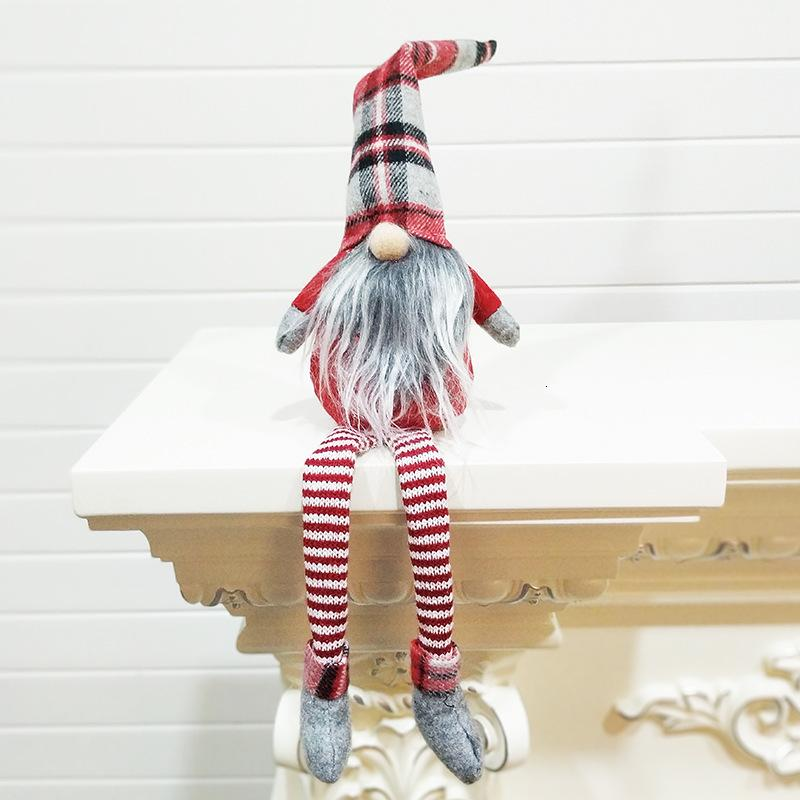 Stili di Buffalo Plaid 4 Bambole Figurine di Natale a mano Gnome Faceless peluche nomes per gli ornamenti regali dei capretti di natale decorazioni