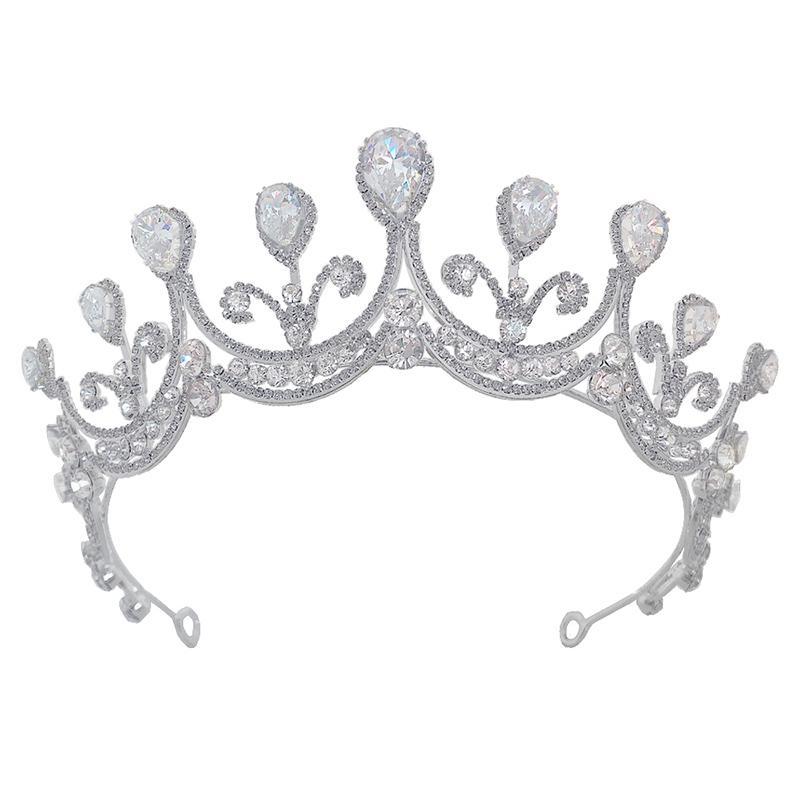 Handgefertigte Vintage Frauen Crown funkelnder Strass Zircon Tiaras Mädchen-Geburtstags-Party Stirnband Kopfschmuck Haarschmuck Headpeice JL