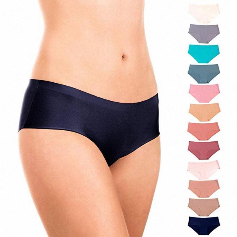 12 шт высокого качества женщин бесшовных Трусы Сплошного цвет Ультратонких трусы женщины сексуальный малоэтажные Трусы Lingerie 2020 EiXF #