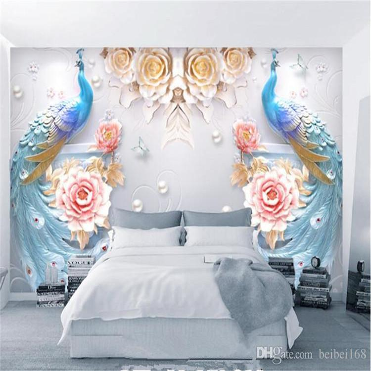 3D Peacock Flower Photo Wall Mural Wallpaper for TV Background Living Room Wall Decor Embossed Wall Paper Custom Size