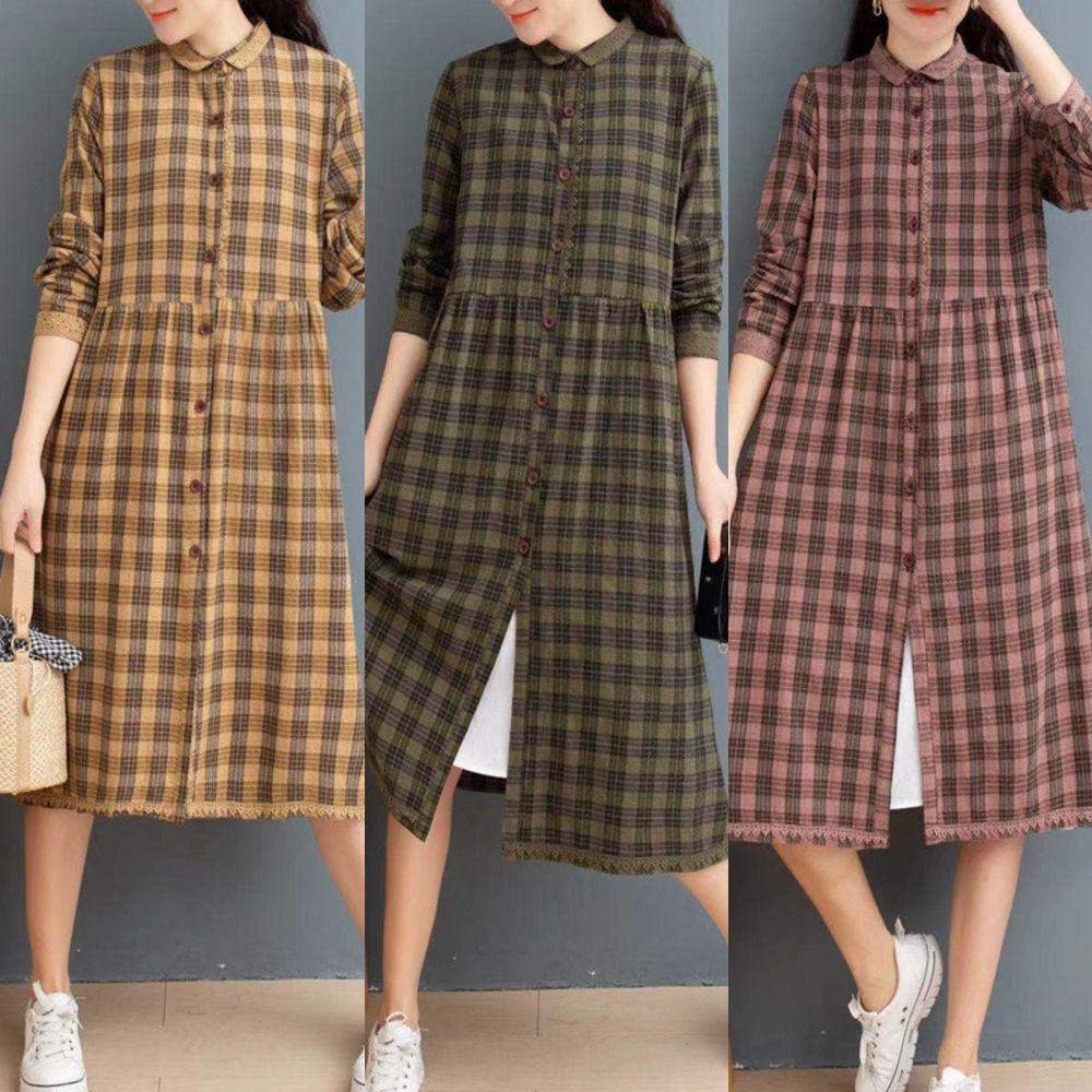 Primavera 2020 nova algodão e linho xadrez solta meados de comprimento do vestido Lace vestido de camisa de renda costura all-jogo cardigan gyIL2