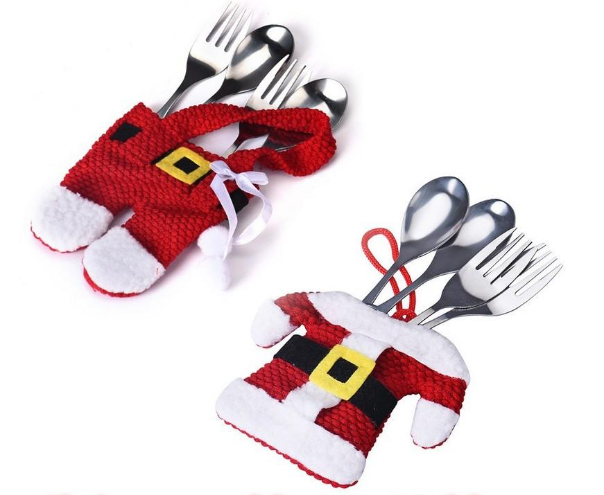 Weihnachtsdekorationen für Haus Snowman Elk Gabel-Messer Taschen Weihnachtssilber Halter Taschen Abendessen Dekor Drop # 3