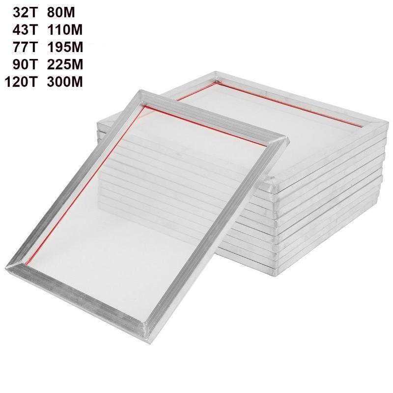 5Pack 46cm * 41cm Impression Aluminium Sérigraphie Presse FRAME 18 '' x16 '' Écrans 32T 43T 77T 90T 120T polyester blanc maille 40cm * 35cm