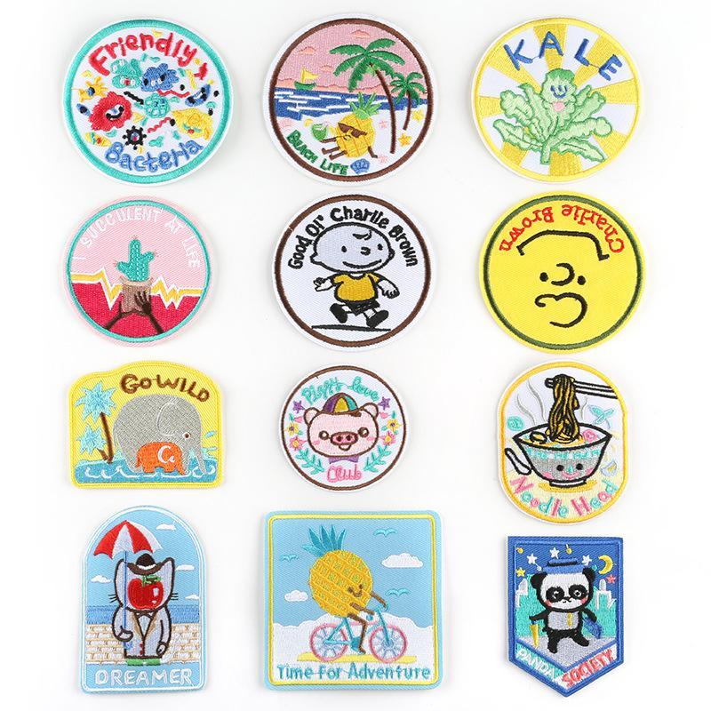 20200816 Cartoon Cartoon Tuch Patch Paste Bekleidungszubehör Tier rundes Tuch Abzeichen Stickerei Abzeichen
