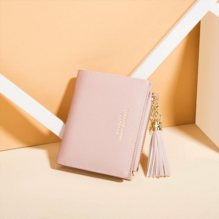 2019 Troddel-Frauen-Mappe Kleine nette Mappen-Frauen-kurze Leder-Frauen-Mappen-Reißverschluss-Geldbeutel Portefeuille Weibliche Tasche Clutch
