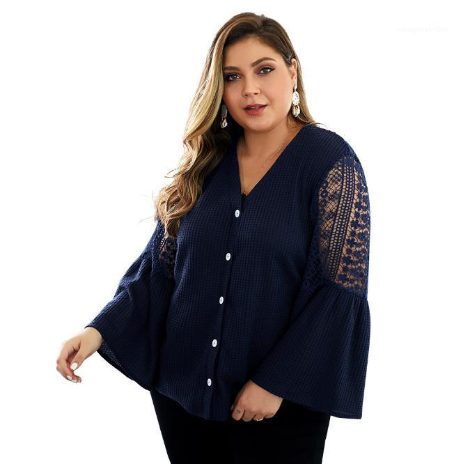 Blouse Solid Color Hollow Out Flare Sleeve Women Knitting Top New 20FW Women Clothing Plus Size Womon