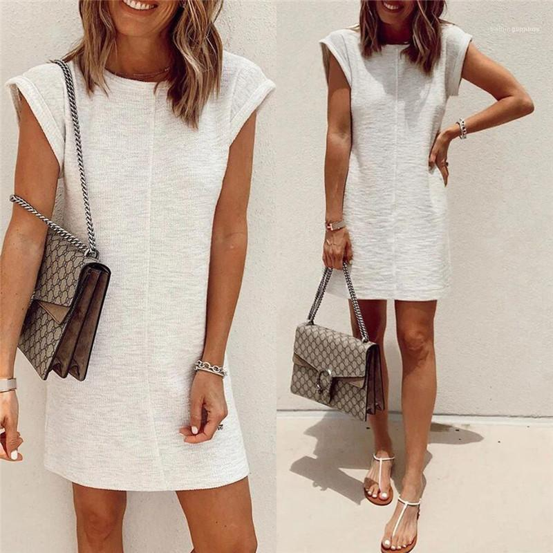 Manches courtes Mode Robes Femmes Vêtements Couleur naturelle Womens Casual Robes style doux Designer robes ligne