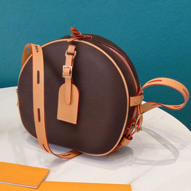 Kadınlar 2020 PU Deri Lüks Çanta Designer Küçük Bayanlar Sling Omuz Messenger Bag İçin Tasarımcı Kadın Kahverengi Dairesel Crossbody Çanta