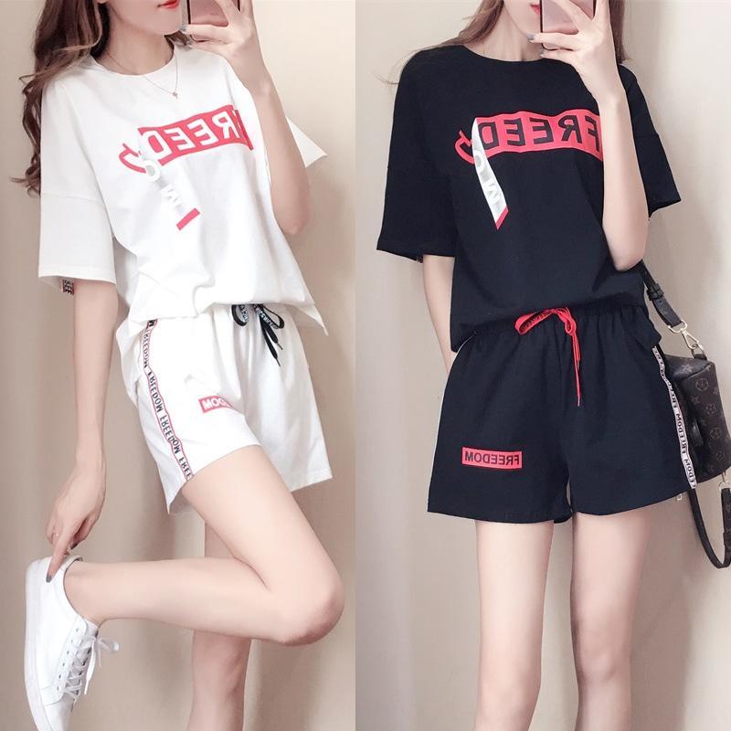 qTLtn 2020 досуга шорты Корейского костюма женских летних шорты спортивного стиля потерять короткий рукав большого размера работает моду и новый двухсекционный костюм