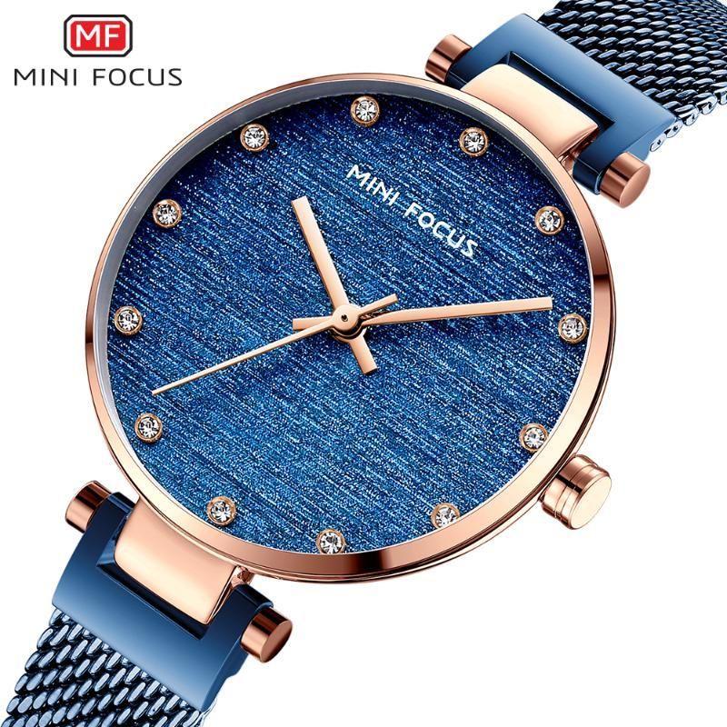 MINI FOCUS Fashion Business 2020 mujeres de los relojes de lujo de Nueva azul gorras de correa de pulsera de cuarzo reloj de señora superior de la marca del reloj de MF0328
