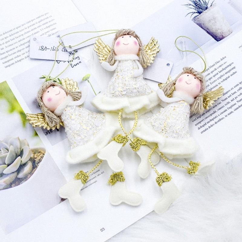 Linda Navidad de la felpa muñeca de juguete de felpa adornos de plata que cuelga de la postura de la muñeca de la ventana del muñeco de decoración para el hogar del árbol de navidad de Navidad 2NXB #