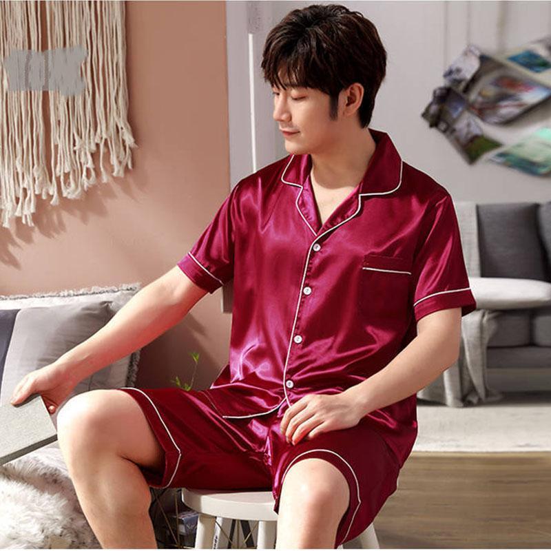 Mens Silk Satin Pajama Set Summer Sleepwear Short Sleeve Shirt Elastic Waist Shorts Pyjama Suit Hot Lounge Plus Size 3XL 4XL 5XL