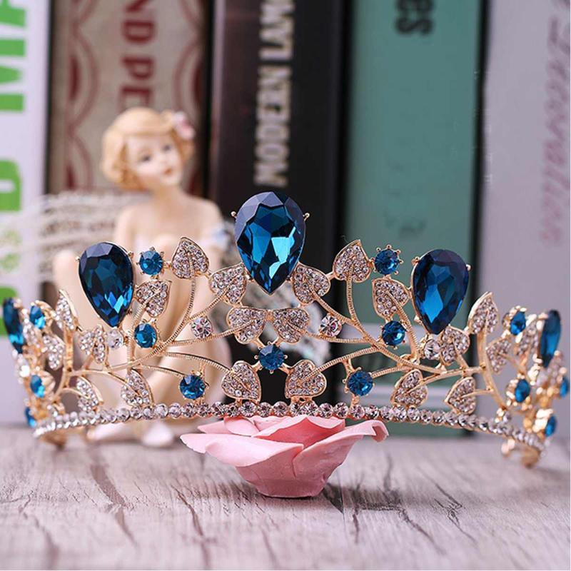 LuxuxRhinestone BrautTiara Crown Barock Kristall Diadem für Braut-Stirnband-Hochzeit Haarschmuck Kleid Zubehör