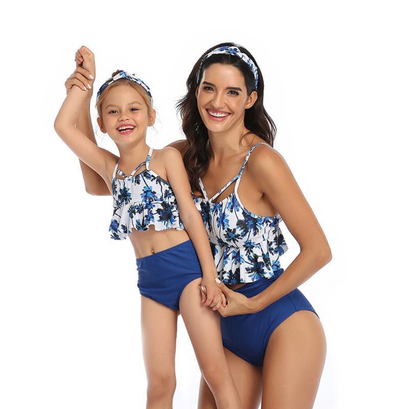 Neue Frauen-hohe Taillen-Badeanzug-Bikini-Satz der Mutter Mädchen Blumen Rüschen 2PCS Badeanzug Badebekleidung Familie Passendes Bademode 2020