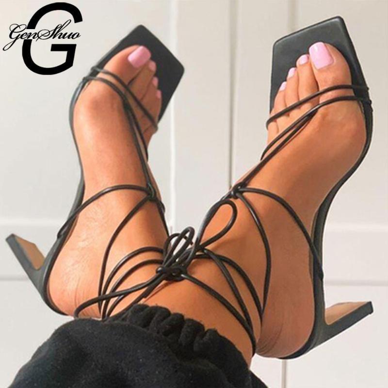 Sandálias Genshuo Summer Sexy Open Toe Lacing Gladiador Sapatos Para As Mulheres Fina Salto Alto Vintage Sambrias Sandalias Mujer