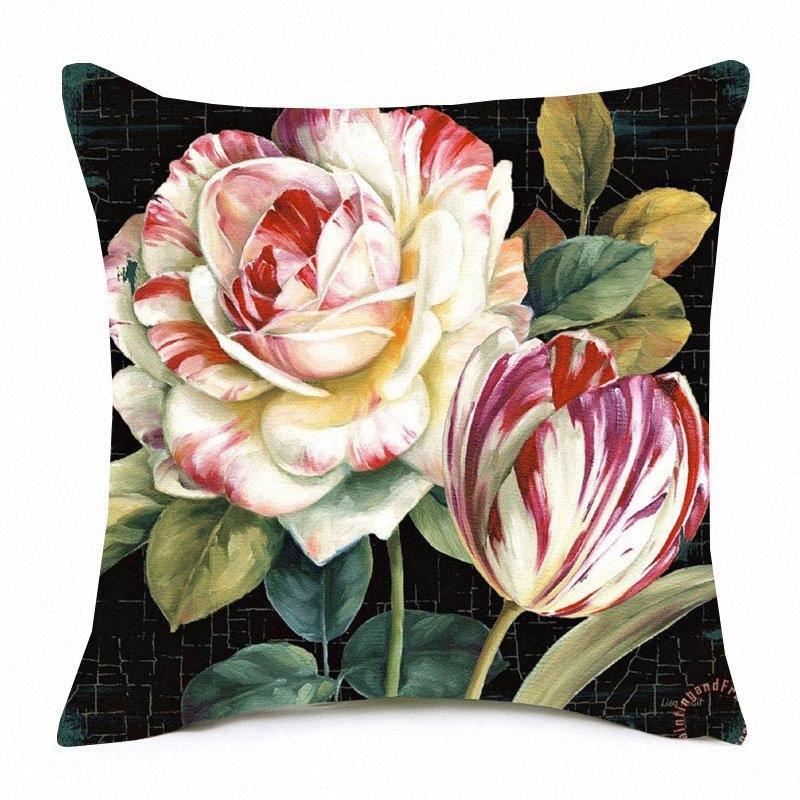 Camellia Tulip fundas de cojines 8 Estilos óleo de la flor pintura color de rosa de lino cubierta de almohadas 45X45cm sofá dormitorio Decoración UNPP #