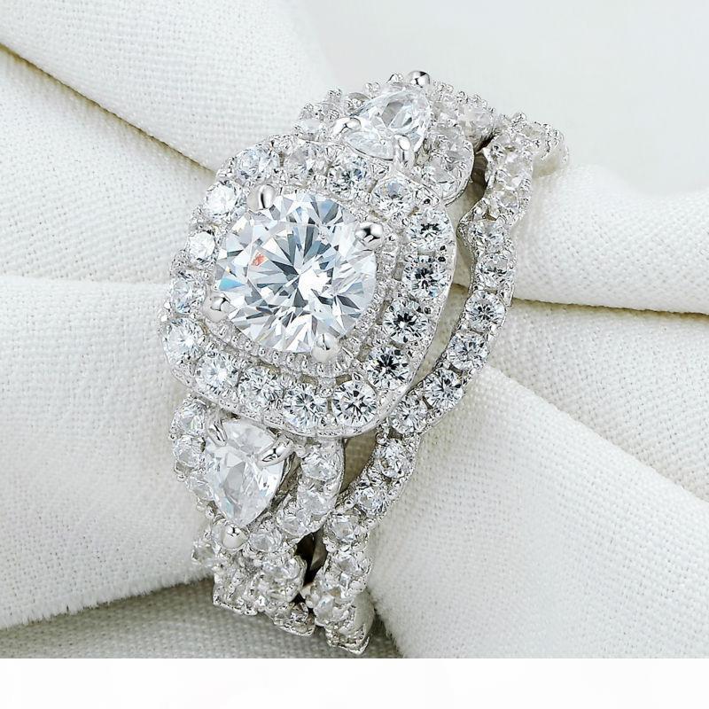Nueva llegada del mismo tamaño 5-10 2pc Plata esterlina 925 juegos de anillos de boda de Halo para las mujeres JR5249