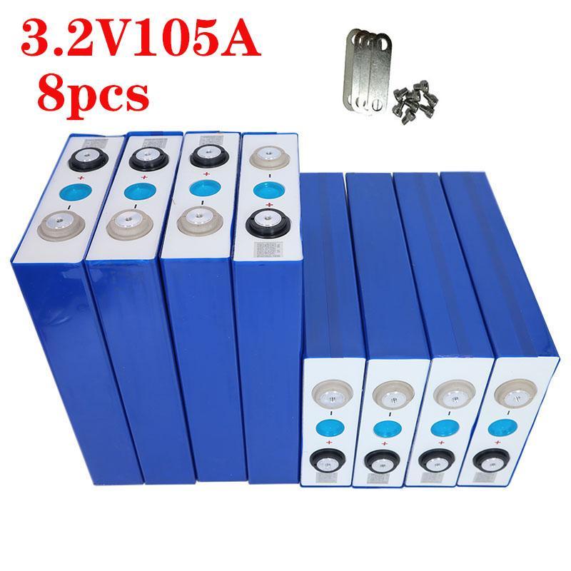2019 NEUE 8PCS 3.2V 105Ah LiFePO4 Batterie CELL nicht 100ah 24V105Ah für EV RV packen DIY Solar EU US TAX FREE UPS oder FedEx