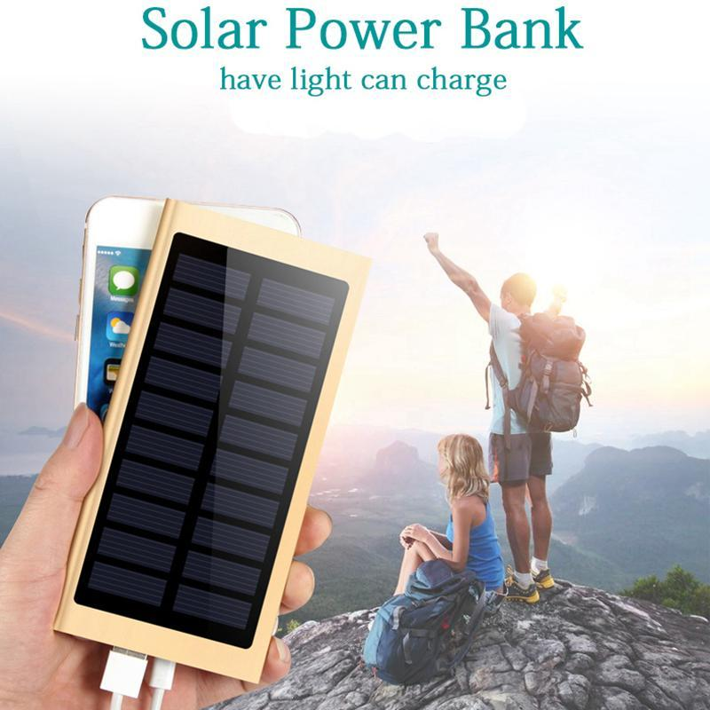 Cgjxs Ultra Thin Solar Power Bank 20000mah External Battery Quick Charger Dual Usb Powerbank Portable Solar Panel With Flash Light