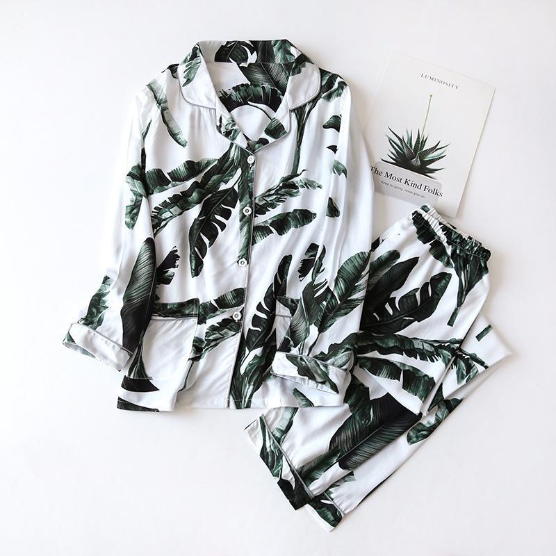 Alta qualidade de algodão macio Pijamas Mulheres Impresso Início Clothes Suit 2020 New Verão Fina manga comprida Pijamas Feminino Pijama Outono T200819