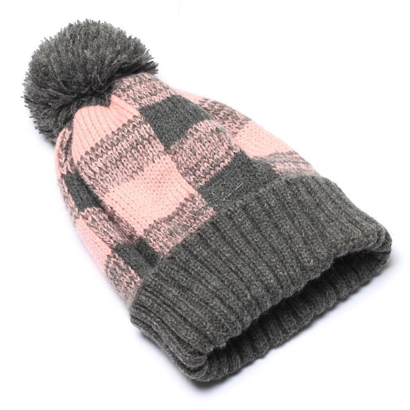 Women Winter Crochet Hat Flanging Plaid Pompon Knitted Beanies Cap Warm Wool Caps Knitting Bonnet Beanie Party Hats Headgear Boutique D92403