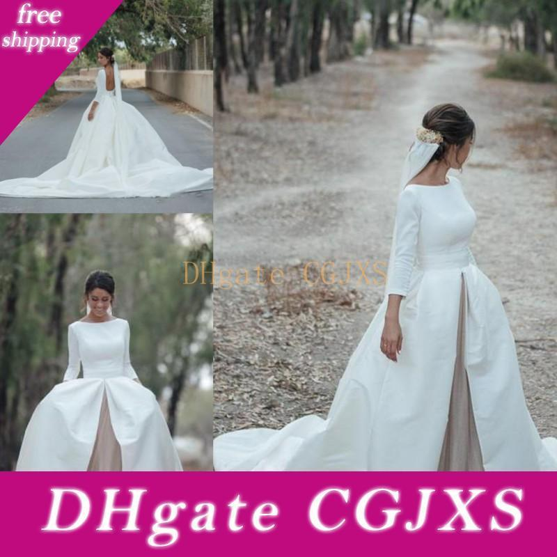 3/4 mangas compridas vestidos de casamento Vintage 2018 scoopneck Nackless vestidos de noiva Tribunal Trem Tulle Satin A Linha Vestidos De Novia