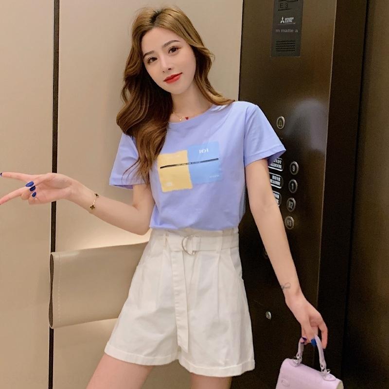 nrLXd VAecu 2020 Verão novo estilo coreano soltas de manga curta T-shirt para o laço ocasional Mulheres + shorts de t-shorts de cintura alta de duas peças lace-
