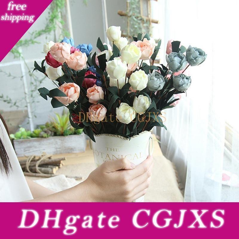 Las flores de seda Artificia Philip Rose falso flores color de rosa ramo de novia florece la flor de la boda decorativo decoraciones de 5 colores Yw3681