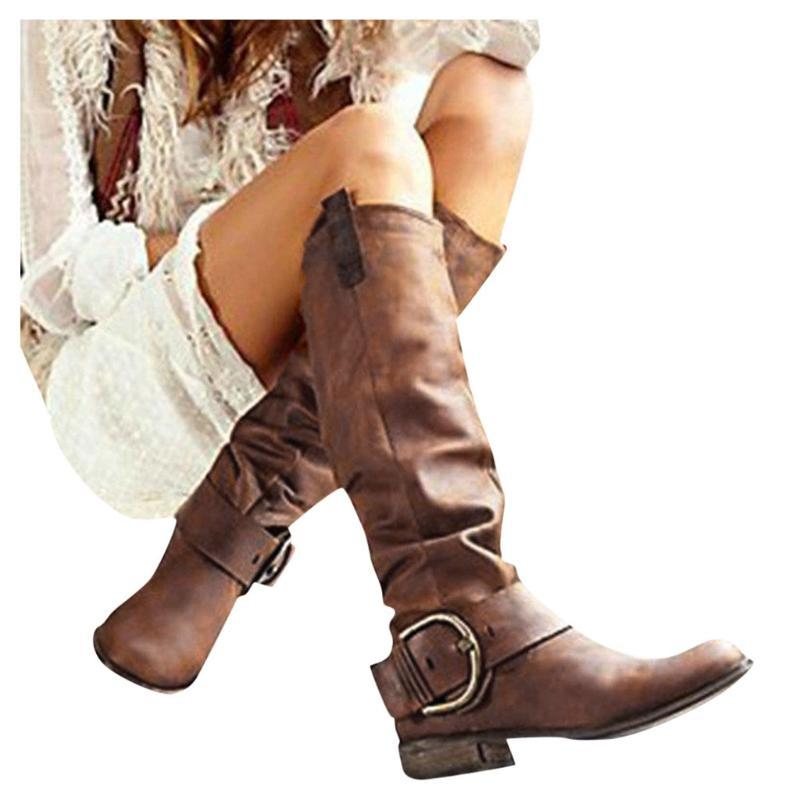 Sagace Womens Long Boots Ladies Fashion Knee High Riding Boots Thick Heels Leather Shoes Botas Largas Para Mujer