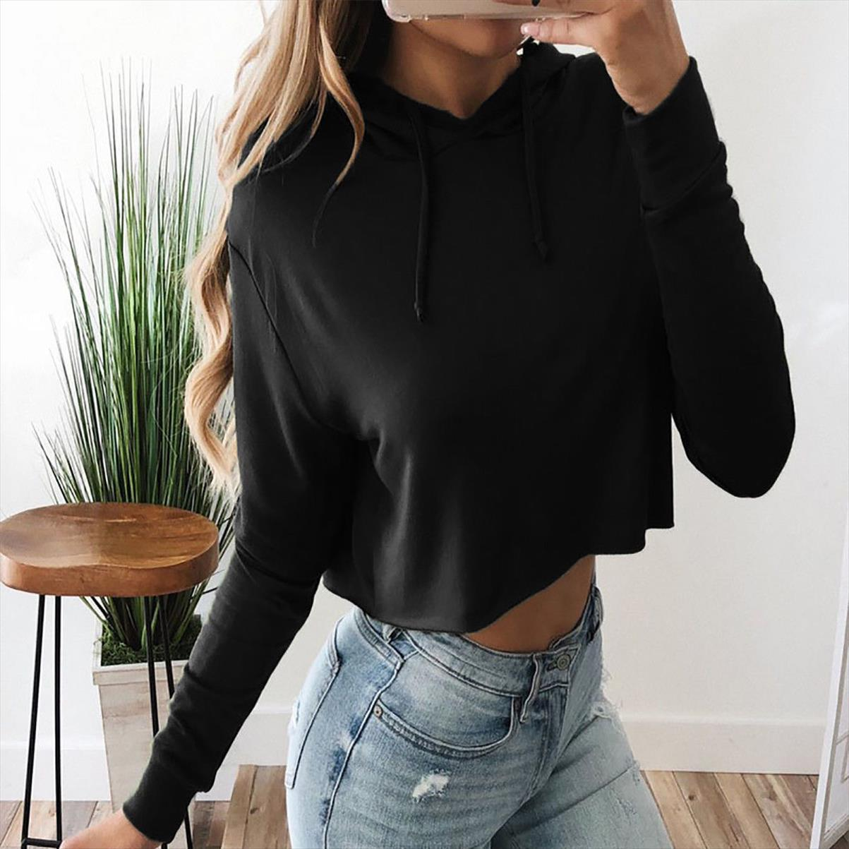 2020 NEW FASION Ladies Crop Hoodie Women Pull Over Plain Casual Short Hooded Sweat Shirt Top SALE