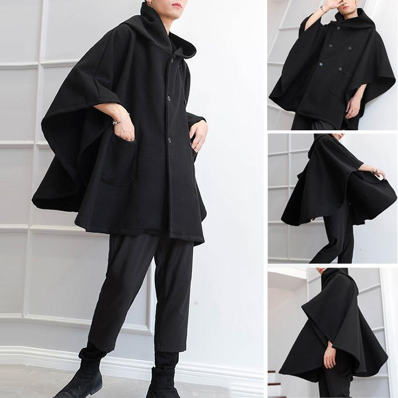 2020 Mode Hommes Cape Coats en vrac Capes capuche double breasted solide Trench hiver Streetwear Hommes ponchos Manteaux INCERUN