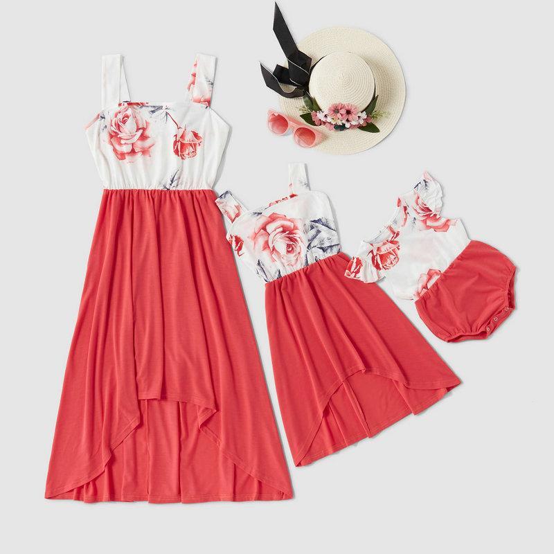 2020 Floral manches Pathwork Matching Robes Mère Fille Robes Et Bébé Romper Famille et des vêtements sur moi Maman